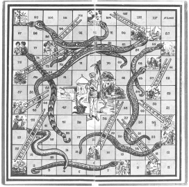 """Snakes & Ladders"", 100 felter (England, ca. 1920-25)"